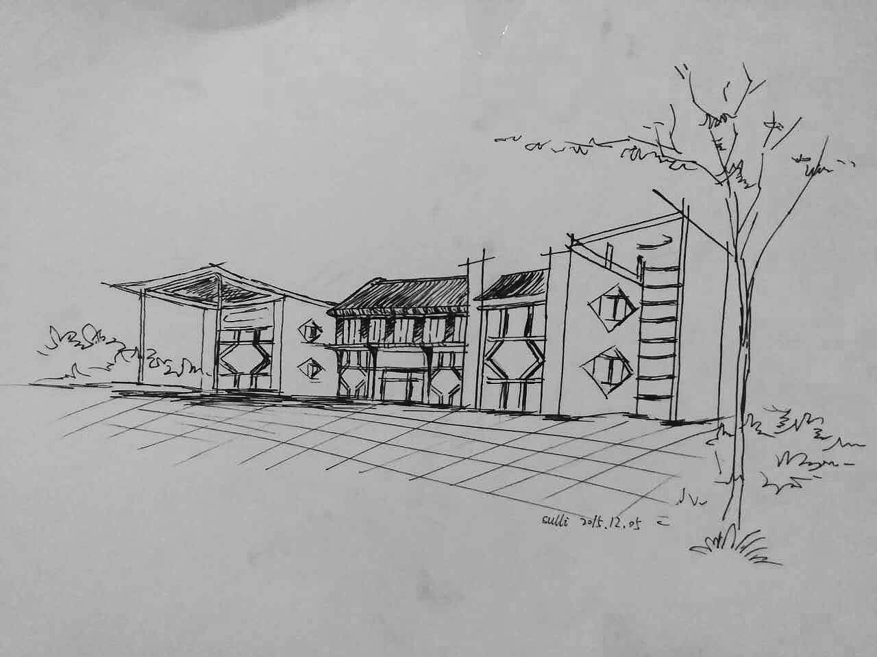 手绘 素描 建筑 ui设计