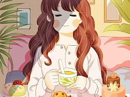 插画   一个人的下午茶