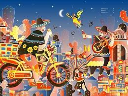 城市印象插画-墨西哥