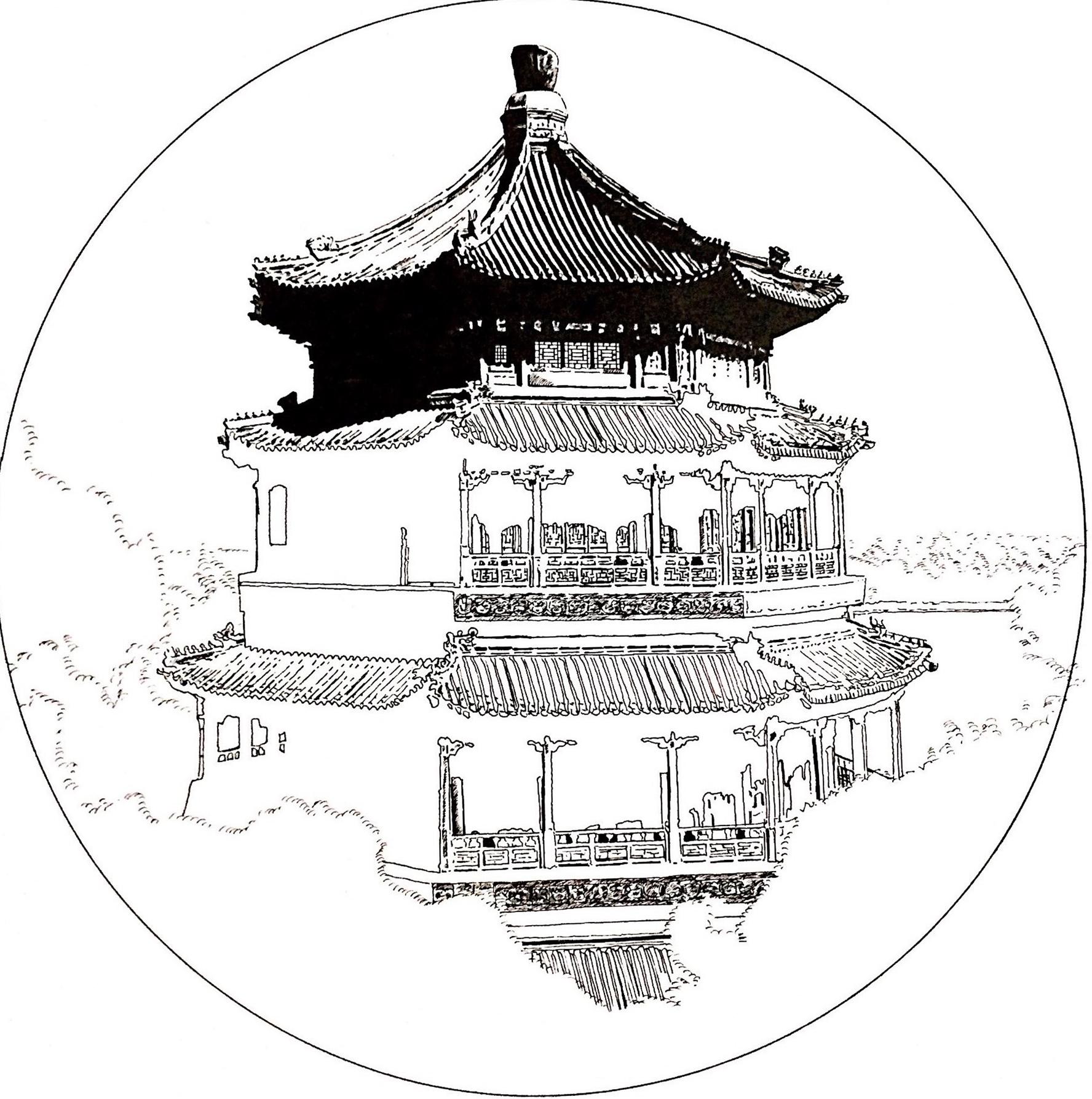 古建筑的黑白艺术|纯艺术|钢笔画|梦绘虫 - 原创作品