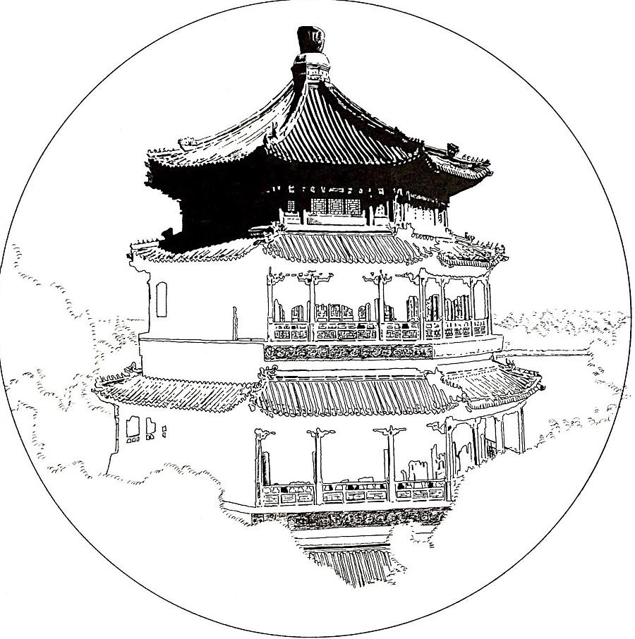 古建筑的黑白艺术|钢笔画|纯艺术|梦绘虫 - 原创设计