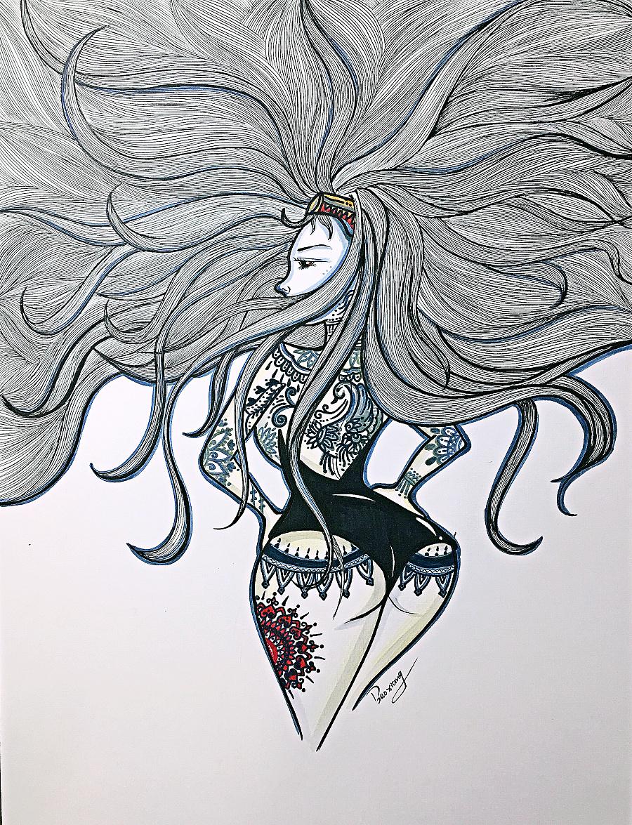 缠绕画,装饰画,手绘,插画,黑白装饰画,线描,女