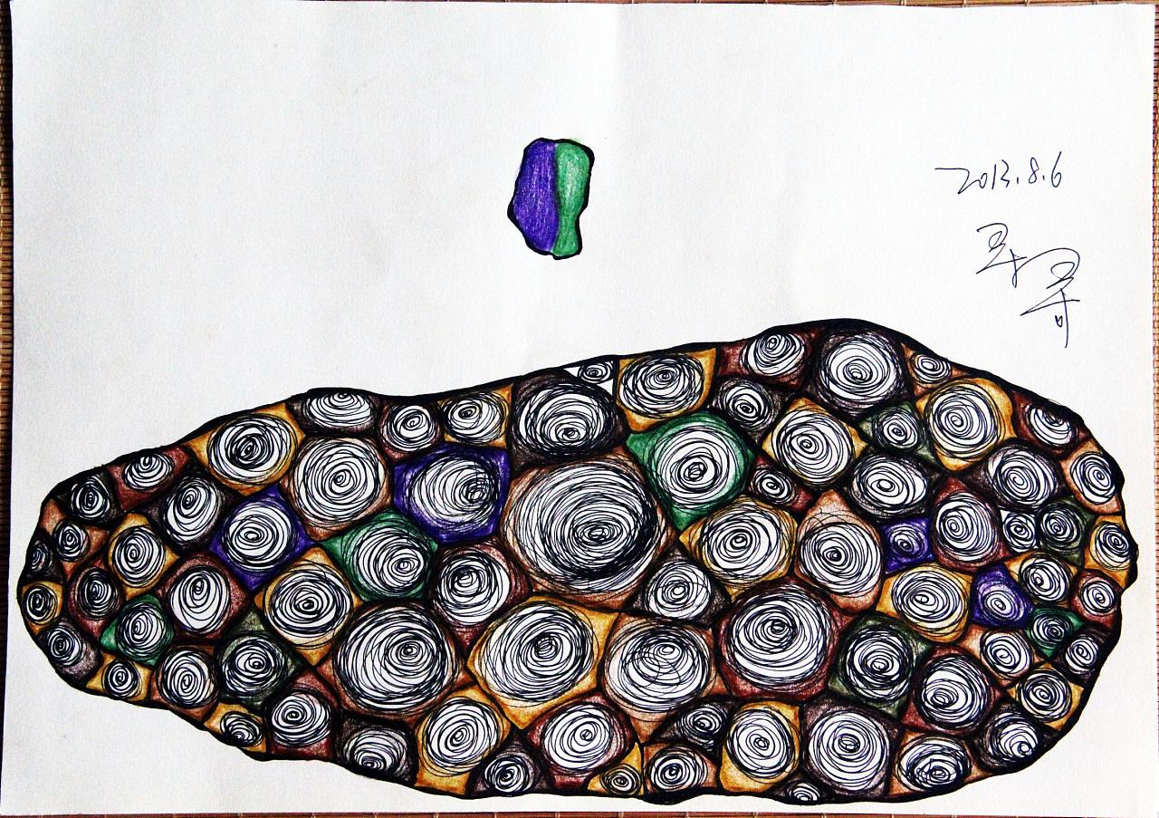 原创——彩铅,手绘,水笔,花纹图案