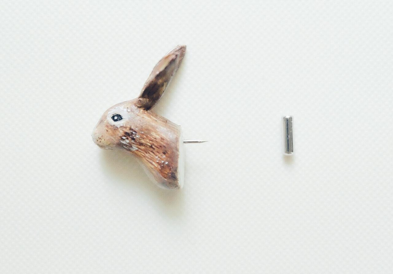 手工粘土 | 小兔图钉|手工艺|手办/原型|小鱼绘过敏