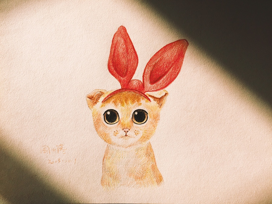 周小馋 彩铅 猫咪