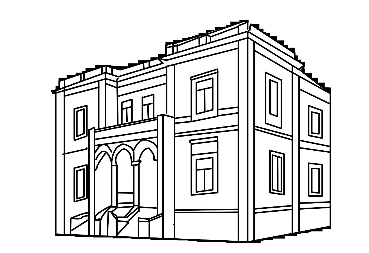 天津标志建筑线描手绘 平面 图案 dbddxiaoguaishou