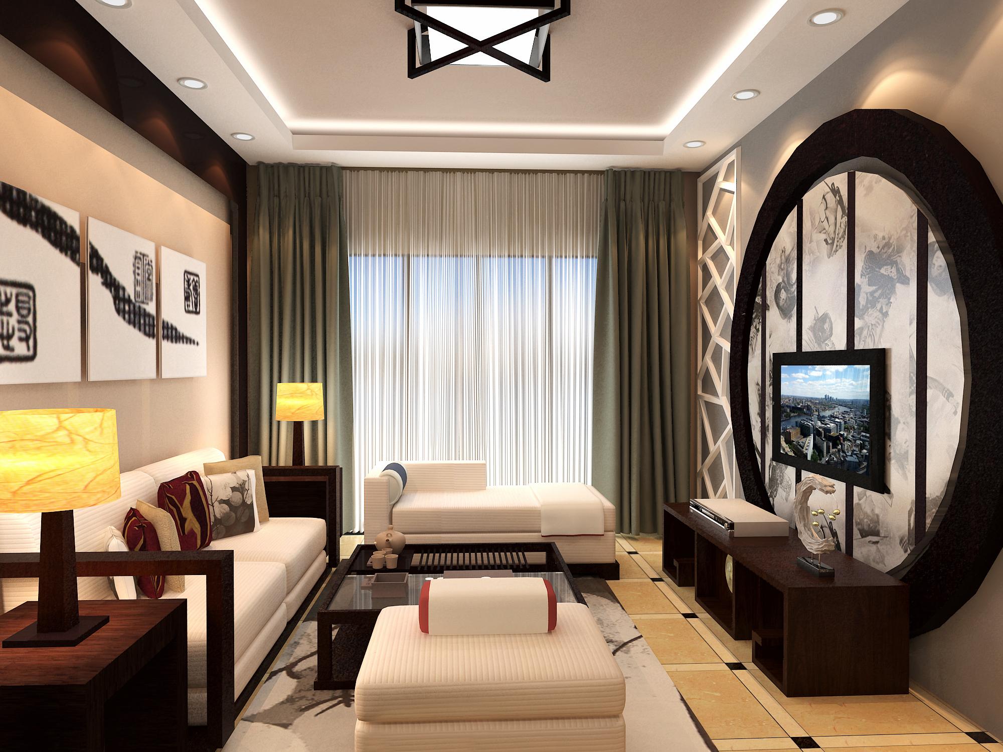 新中式室内效果图 空间 室内设计 野桜 - 原创作品