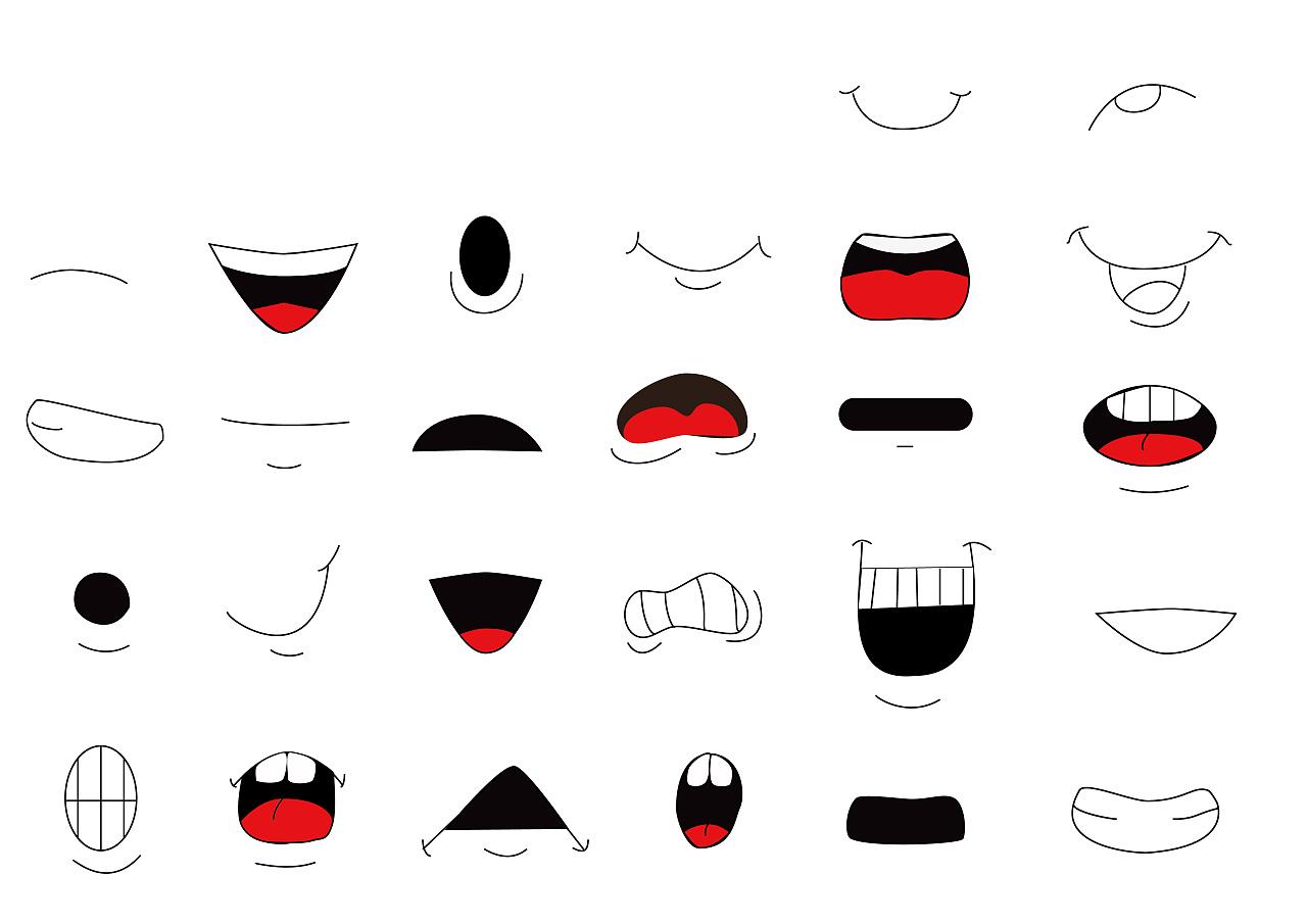 人物嘴巴三视图