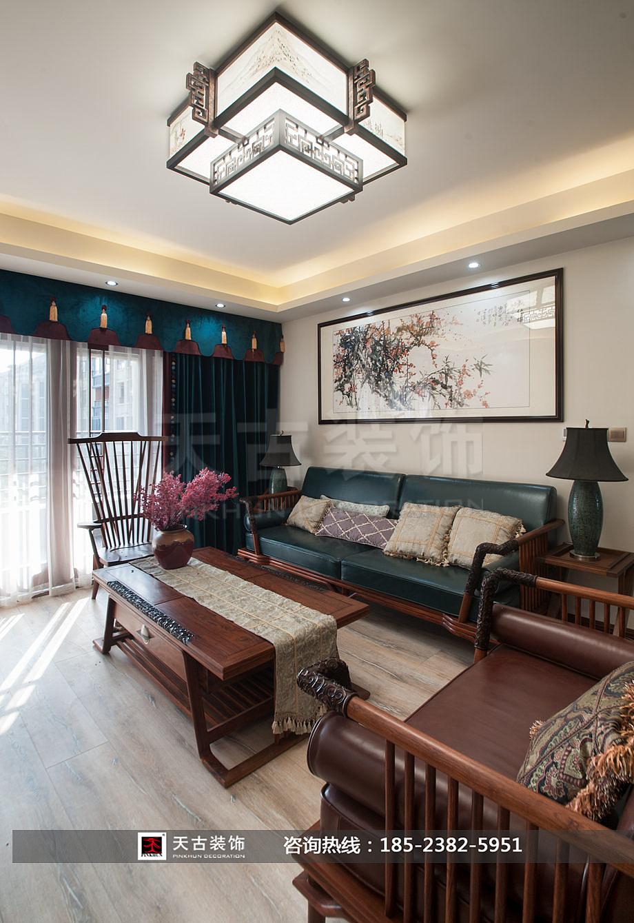 饰现代中式风格装修案例 渝北区洋房装修