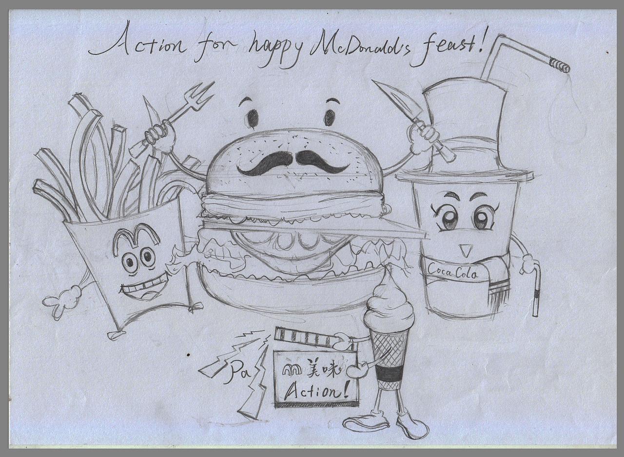 手绘设计稿,包括动物和人物绘图以及参照网上一些设计动漫形象进行再