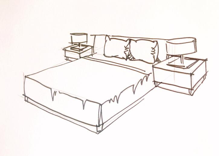马克笔床手绘图片效果图