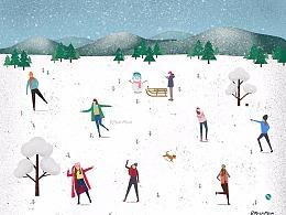 【下雪了】雪景打雪仗人物插画