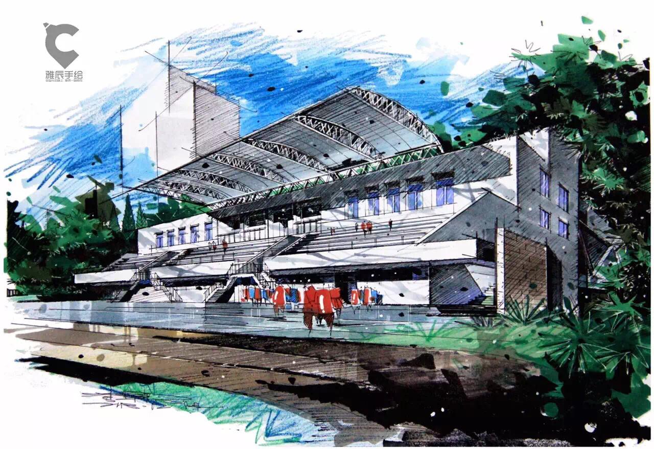 马克笔建筑手绘明信片