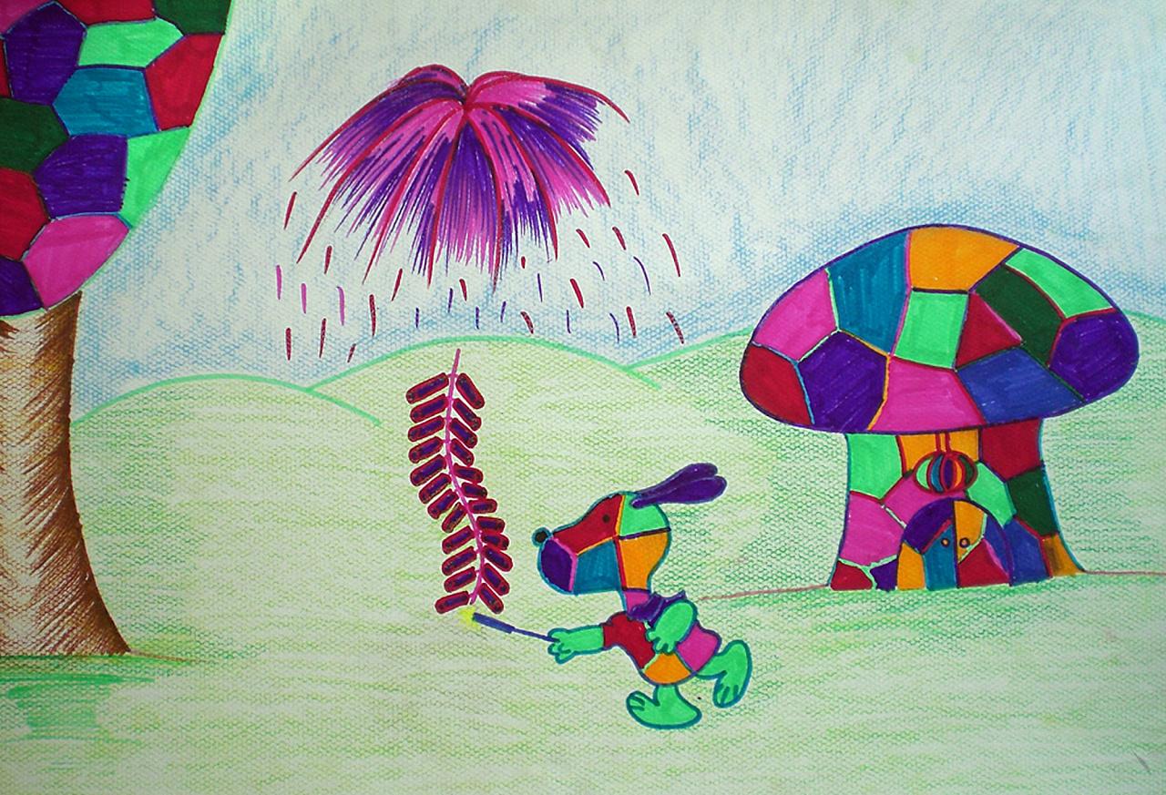 旭艺校超牛创意简笔画 过年了