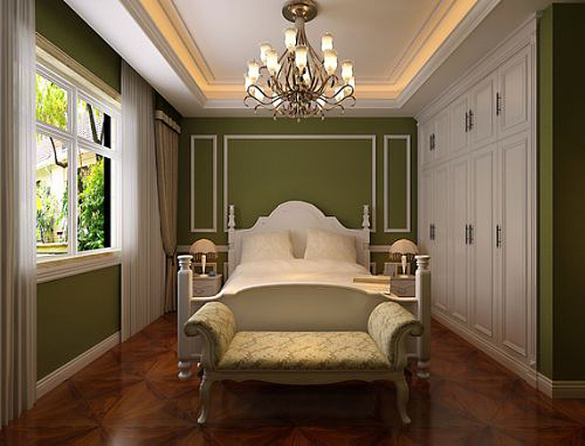 欧式新古典风格装修效果图卧室位置:以仿古砖作为地面装饰材料特