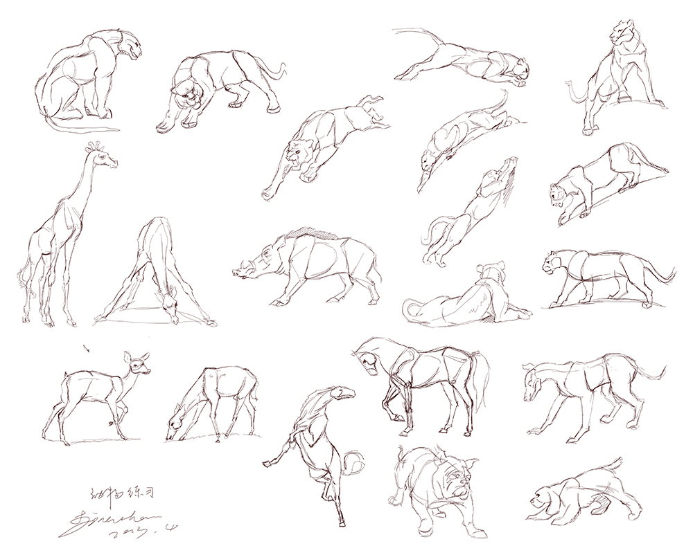 三种动物构成一副画简笔画