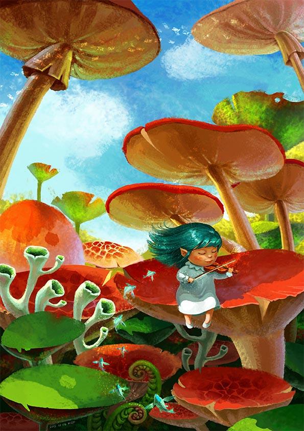 (娃他妈)手绘蘑菇的森林插画练习|儿童插画|插画|娃