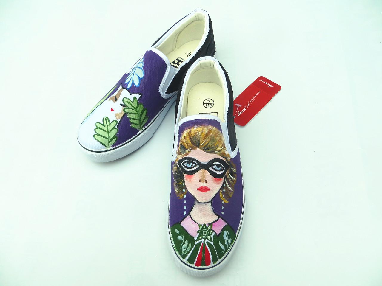 手绘鞋 个性定制 纯手绘 美国妇女