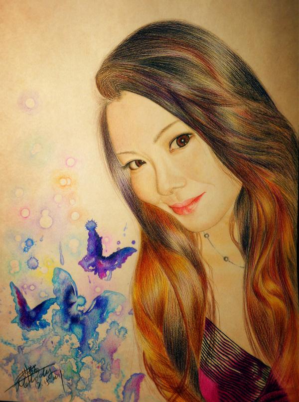 彩铅手绘人物肖像~~送给朋友的生日礼物 彩铅 纯艺术