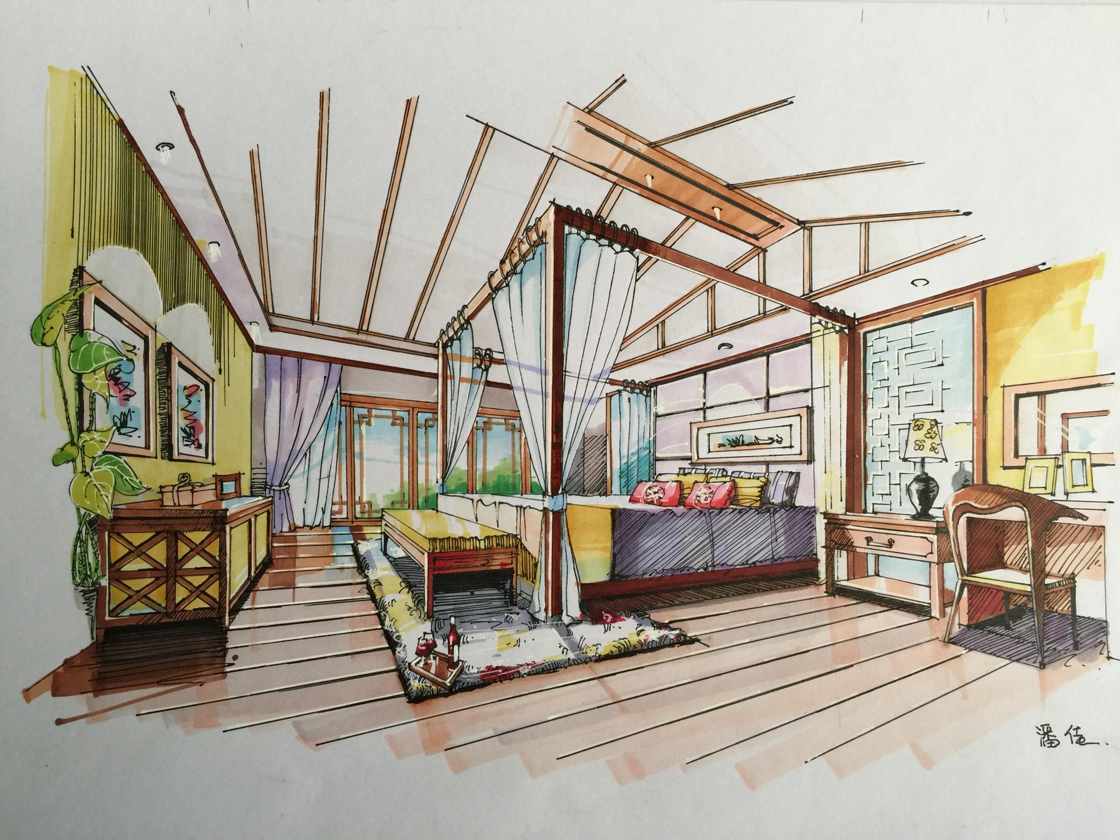 环艺室内设计卧室手绘效果图