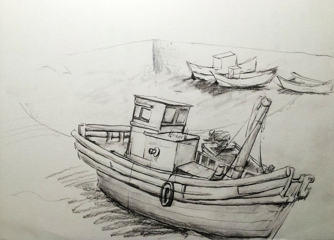 去青岛写生画的船