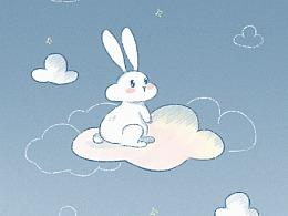 Cloud Rabbit系列-手机壁纸-云望星空