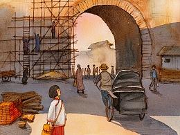 《城南旧事》水彩插图