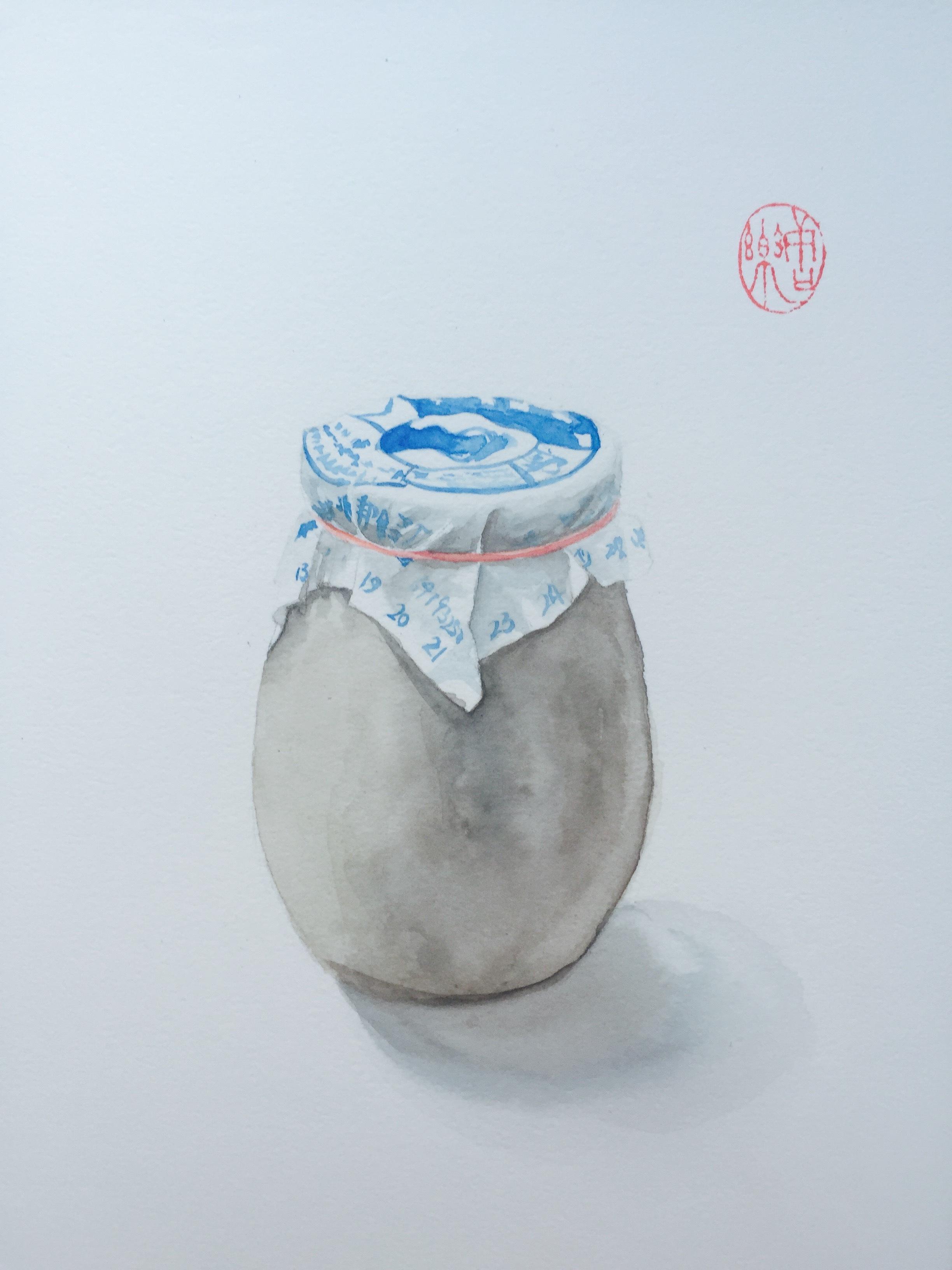 老北京系列之瓷瓶酸奶 纯艺术 水彩 桃夭lele - 原创
