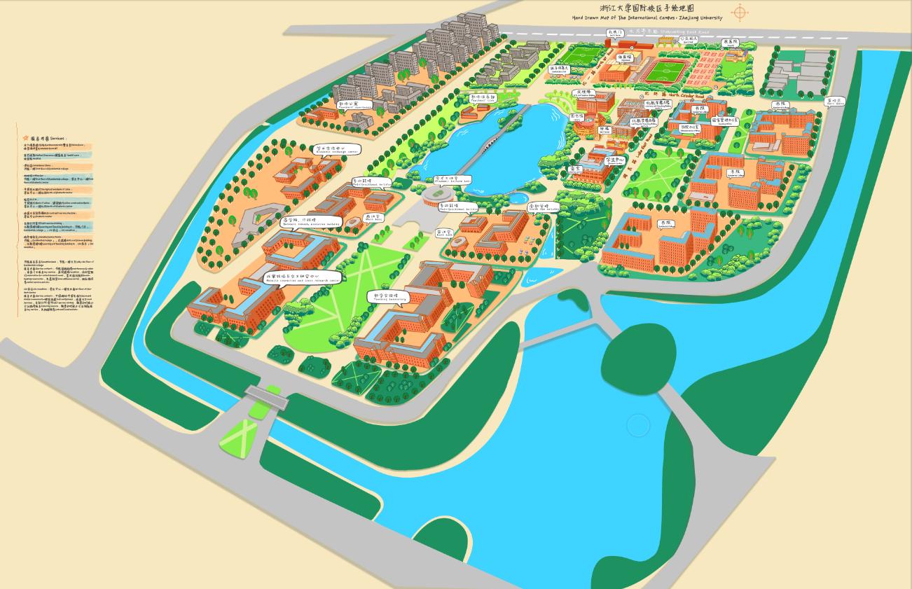 给校园画的手绘地图