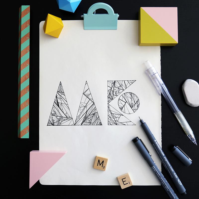 HandLettering1手绘字体文献v字体 字体/插图 现代简约风格室内设计字形图片