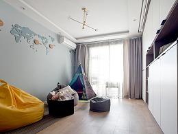 【久栖设计】无沙发客厅+投影,为孩子打造一个游乐园