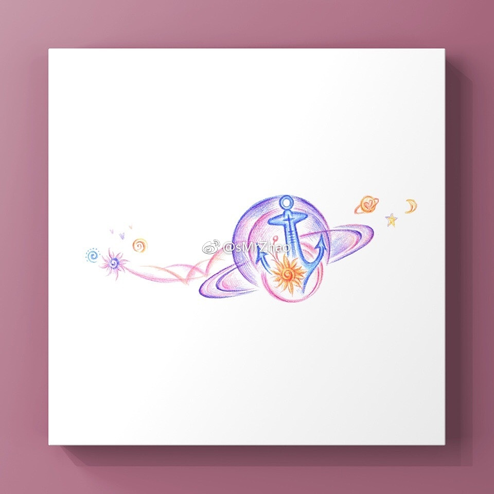 3.  元素:,星球或花朵植物 风格:彩色,小清新 部位:锁骨至肩膀