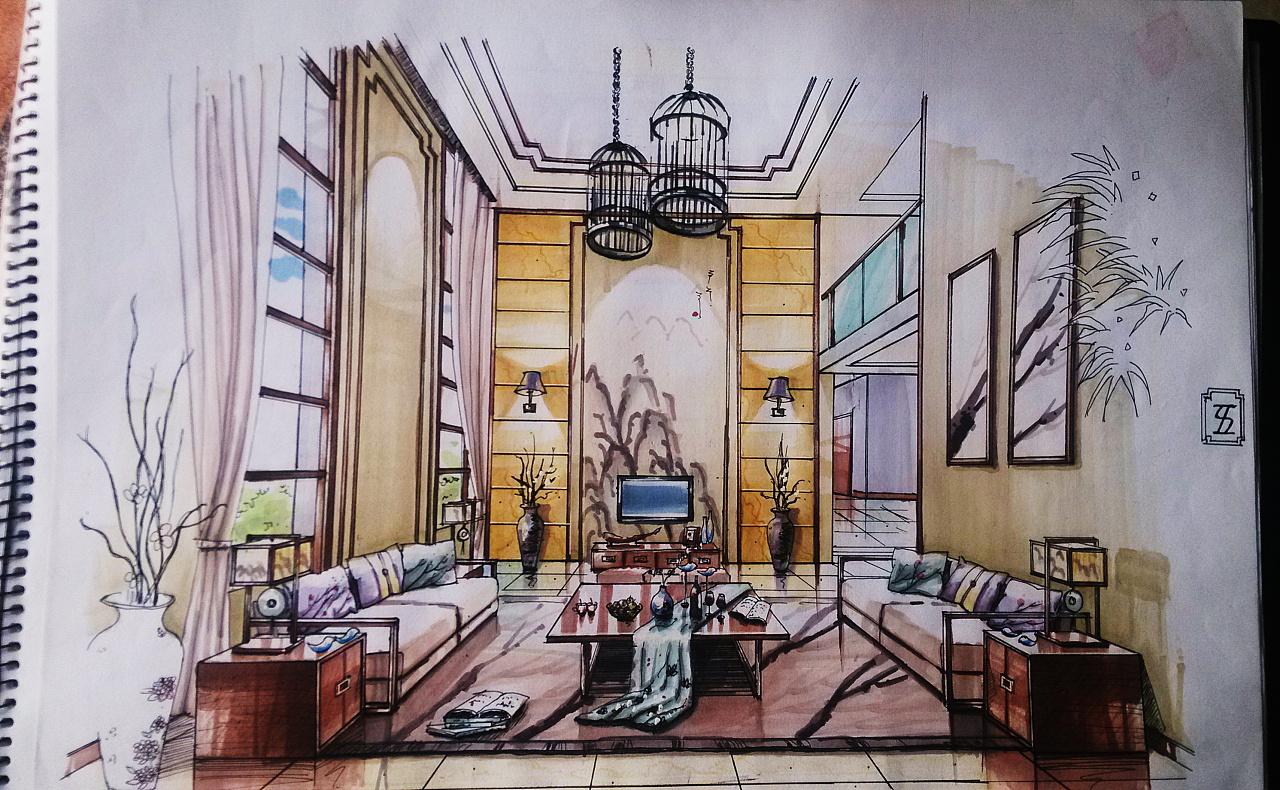 水墨江南别墅设计客厅手绘效果图
