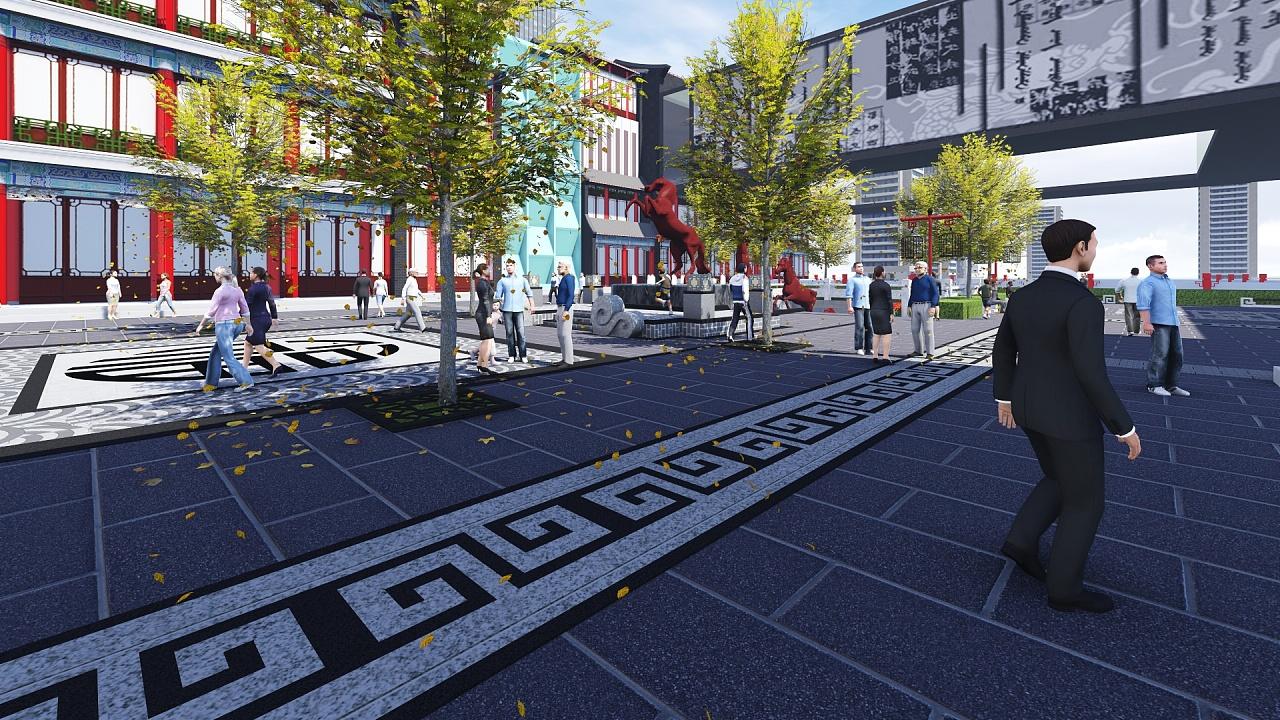 一个中式商业街图片