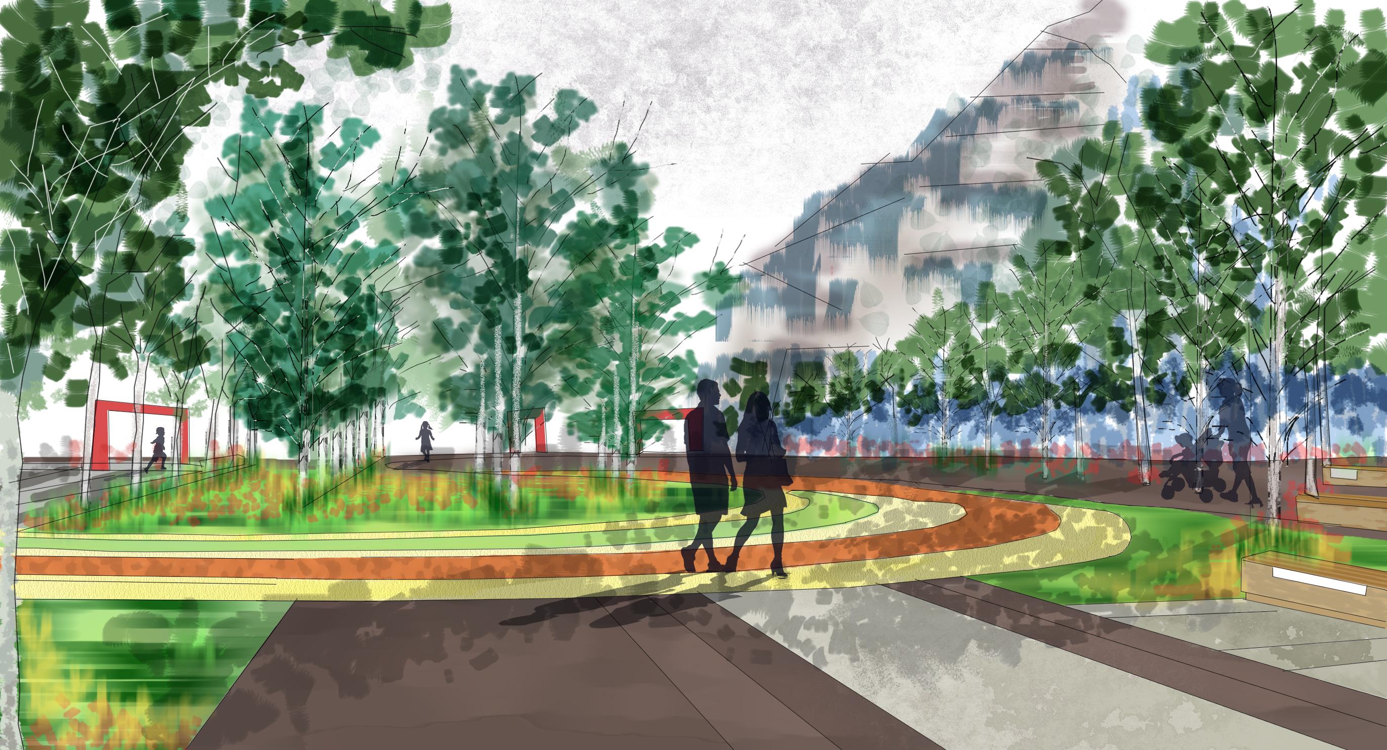 园林手绘概念景观效果图