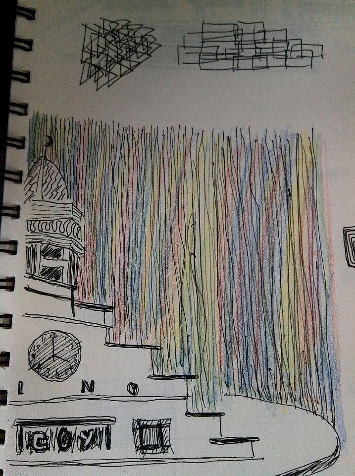 这是我临摹的建筑物,彩色部分是用四色彩铅画的,感觉是很神奇的笔