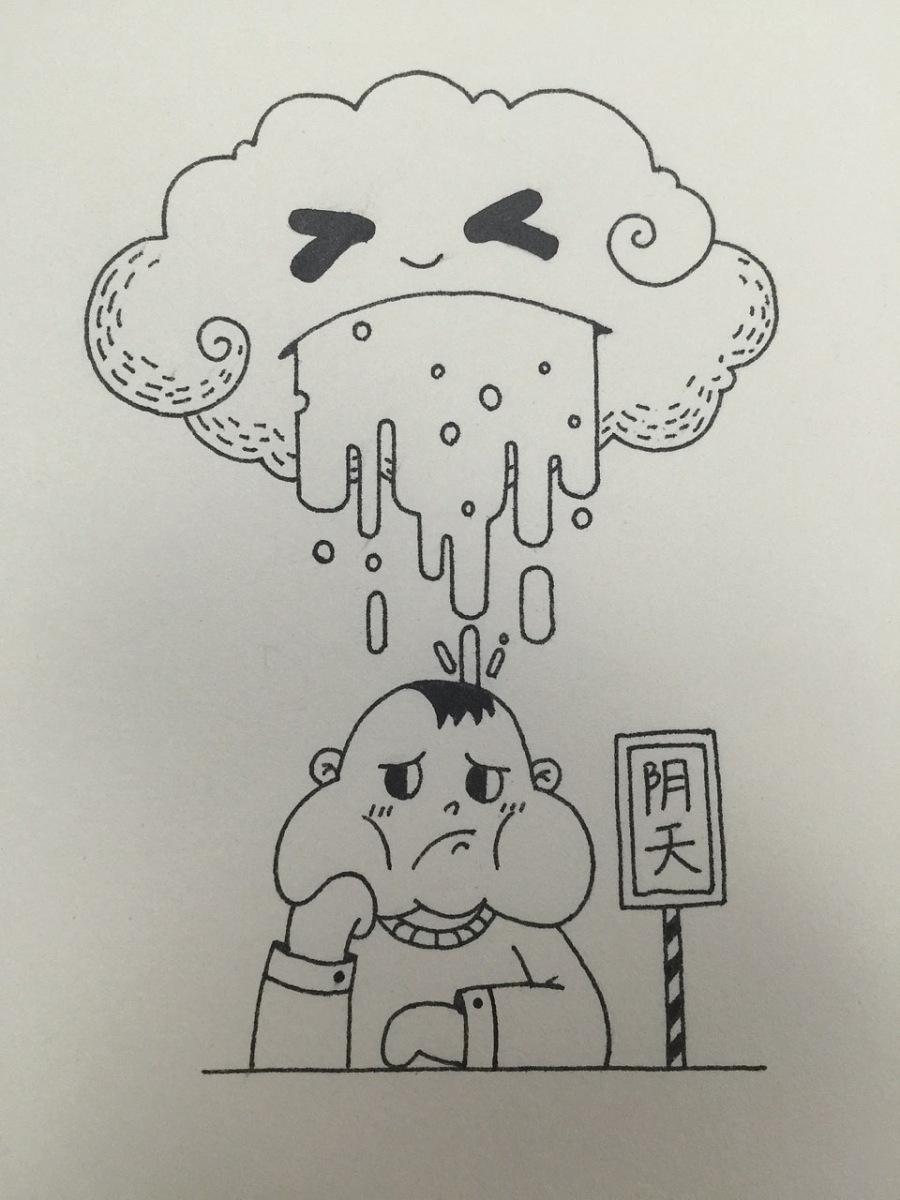 下雨卡通简笔画
