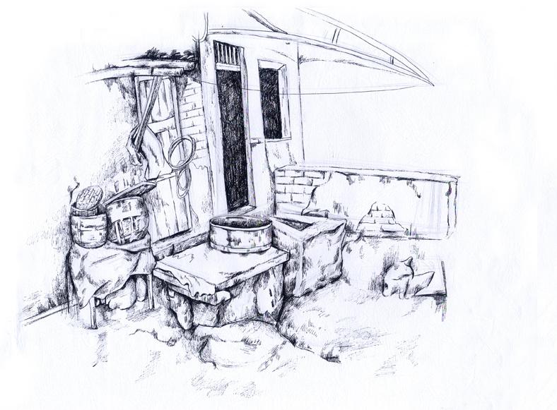 重庆古巷|纯艺术|速写|阳光下的米粒 - 原创作品