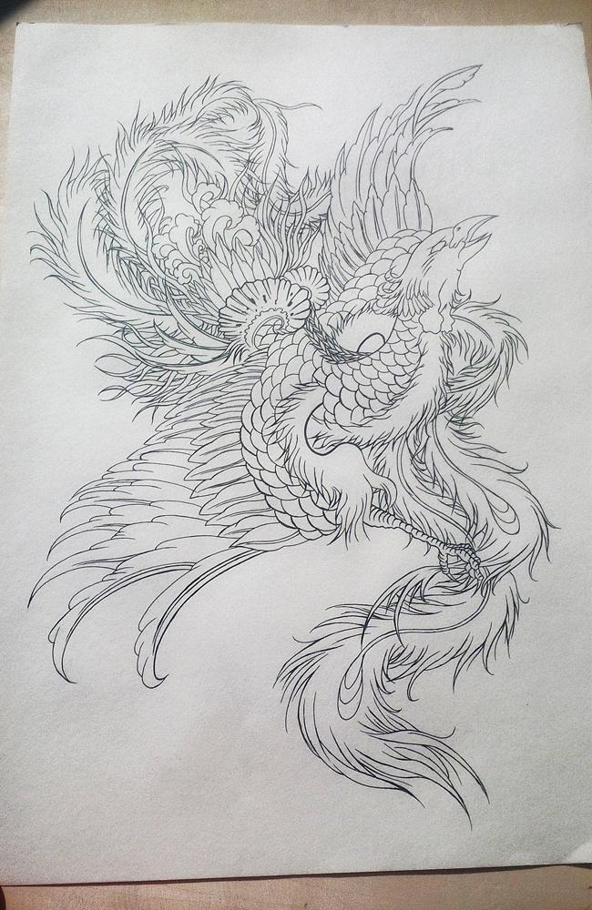 给一个哥们设计的凤凰涅盘纹身手稿,第一次使用针管笔画线条