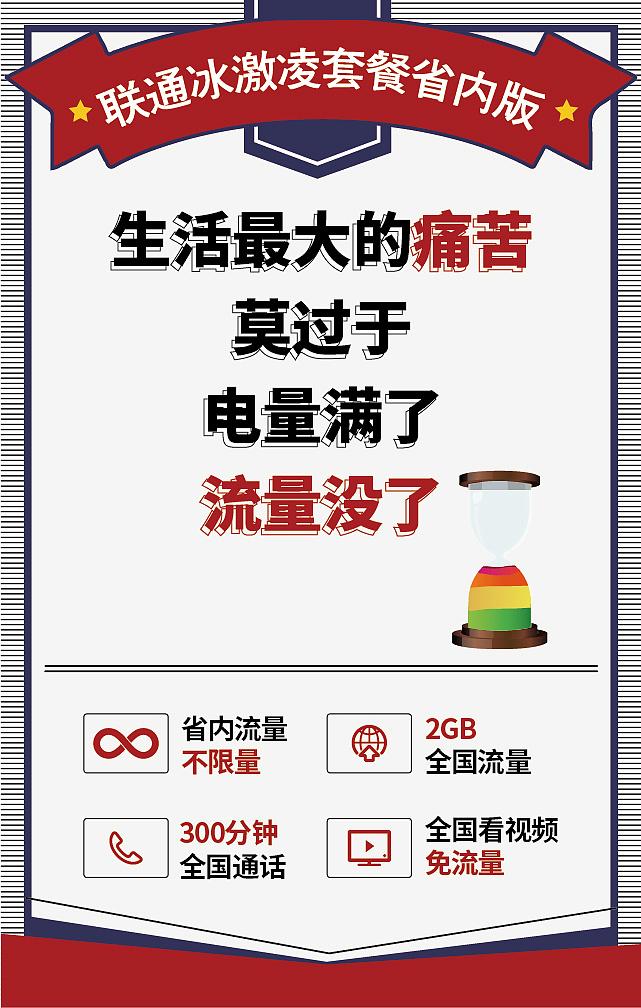 安徽联通冰激凌省内版系列微信海报图片