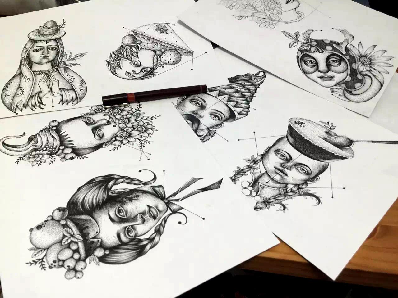 无邪抹茶系列插画景观设计年终工作概述图片