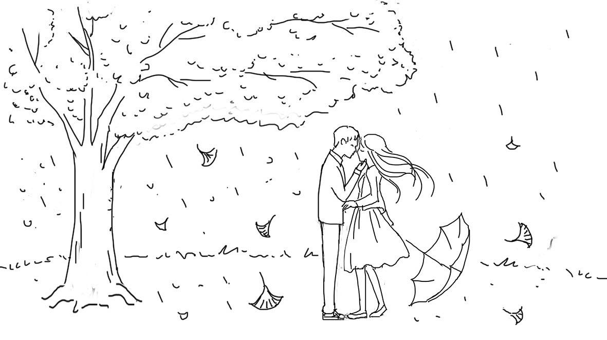 好看的手绘爱情图片