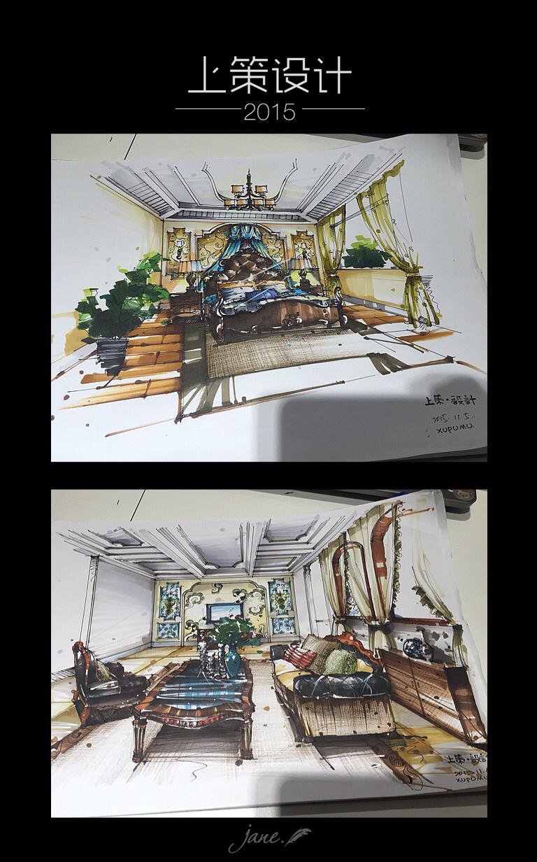 别墅室内一层客厅和主卧手绘效果图 室内设计 空间