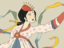 《歌舞鼓乐》——浮世绘风格的朝鲜族女孩