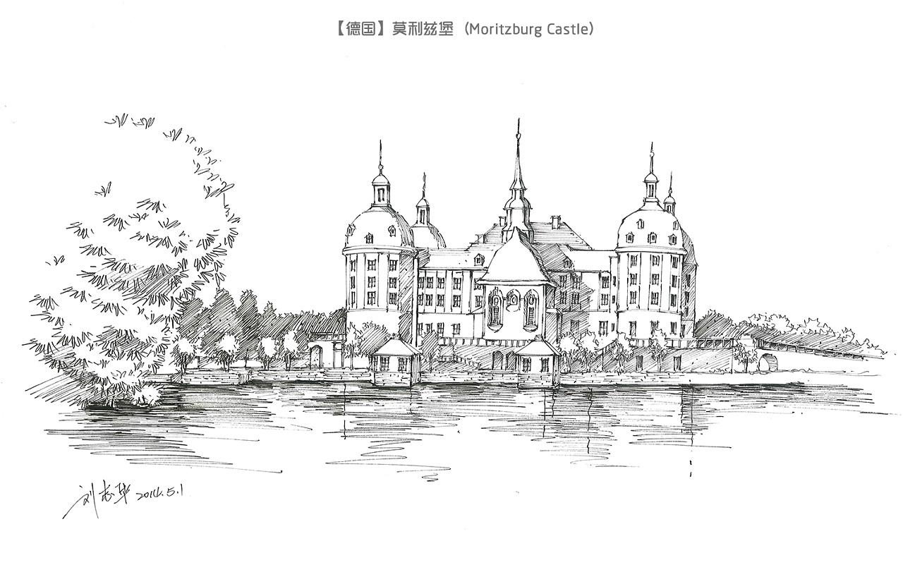 手绘欧洲古堡