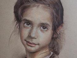 彩铅-《小女孩》