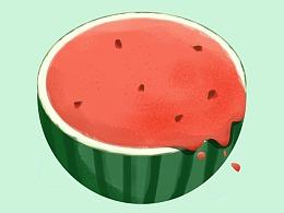 夏天吃口西瓜,练习一下