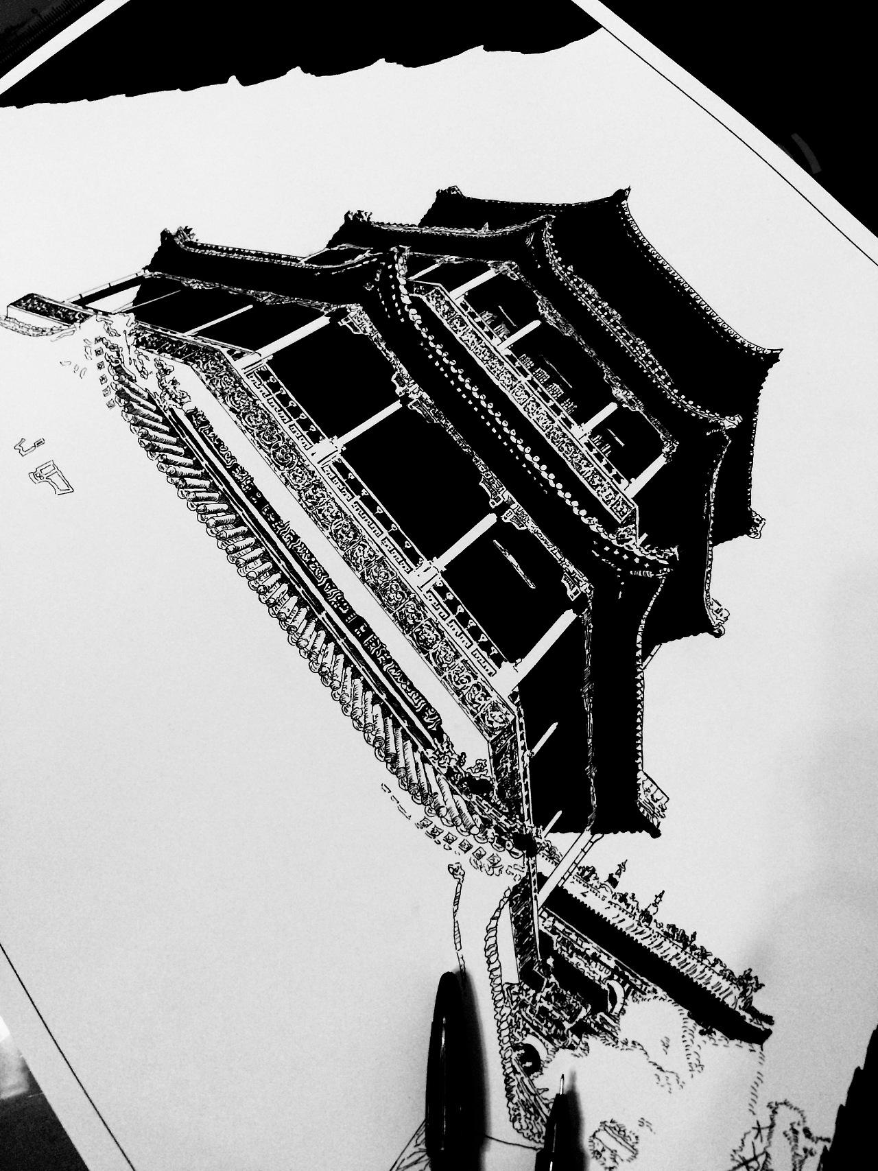 古建筑黑白涂鸦|纯艺术|钢笔画|梦绘虫 - 原创作品