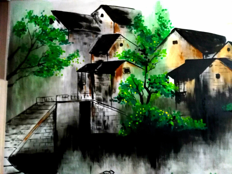 古镇浮雕墙手绘