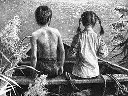 任保海为曹文轩《水下有座城》创作的钢笔画作品